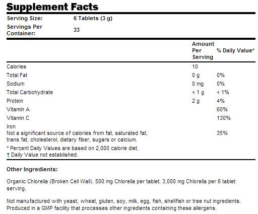Резултат с изображение за NOW FOODS Chlorella Organic 500 mg